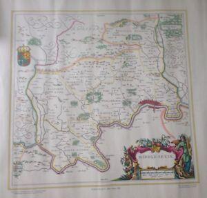 JOHN BARTHOLOMEW MAP OF MIDDLE-SEXIA 1648 JOHAN BLAEU 23 X 18.25 INCHES