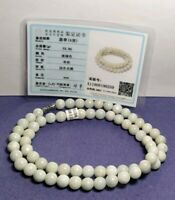 A Jade Jadeite 8mm Light Green Beads Necklace With Certificate