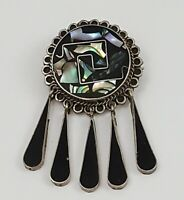 Vintage TAXCO Mexico 925 Sterling Silver Onyx Abalone Inlay Brooch Pendant