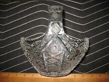 "Vintage Cut Glass Lead Crystal Fruit Basket Bowl 7"" Across 3Lbs. Nice L👀K"