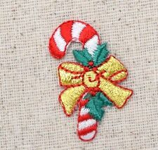 Iron On Embroidered Applique Patch Christmas Candy Cane with Gold Bow