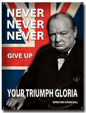 TRIUMPH GLORIA,NEVER NEVER ...GIVE UP YOUR TRIUMPH GLORIA METAL SIGN.VINTAGE A3