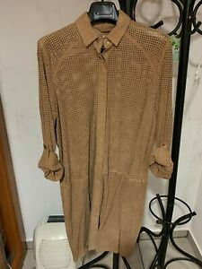 UTERQUE (ZARA GROUP) SUEDE CAMEL SHIRT JACKET SIZE SMALL REF. 0609/550