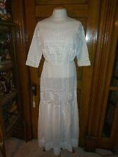 Antique Victorian Edwardian Gibson Girl Tissue Cotton Lawn/Lace Dress c. 1906