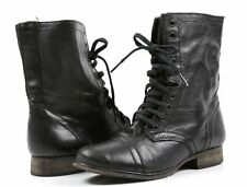 Steve Madden TROOPA Leather Military Combat Fashion Boots Dark Green Sz 8.5