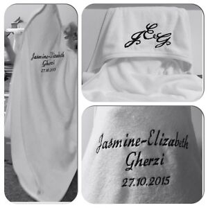 Personalised Embroidered Baby Hooded Towel, Bath Robe, Name,DOB Newborn NEW GIFT
