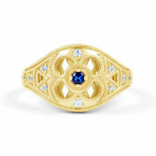 Blue Cluster Yellow Gold Fine Rings
