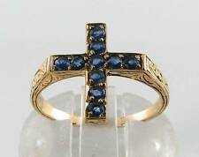 DIVINE 9CT 9K GOLD VICTORIAN INS BLUE SAPPHIRE CRUCIFIX CROSS RING RELIGIOUS