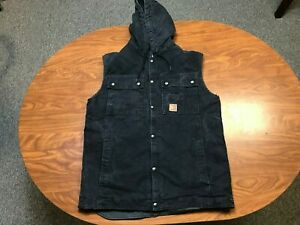 MENS USED CARHARTT BLACK BUTTON UP SHERPA LINED CANVAS HOODED WORK VEST MEDIUM