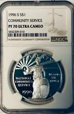 1996-S Community Service Commemorative Silver Dollar - NGC Proof-70 Ultra Cameo