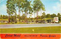 Pearson Georgia~Corral Motel~Restaurant~Thru the Trees~1950s Cars Postcard