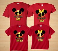 Incredibles Mom ,Dad ,Minnie, Mickey matching Disney Family vacation tshirts