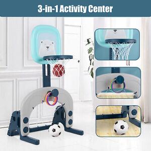 3-in-1 Kids Basketball Stand Sports Activity Center Ball Games Basketball Hoop