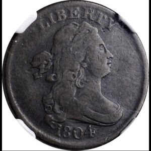 1804 Draped Bust Half Cent Crosslet 4, Stems To Wreath Slight Rev Rot NGC VG08