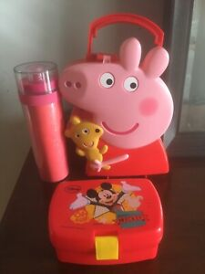 peppa pig & Mickey Mouse lunch / storage box And Reusable Bottle Bundle
