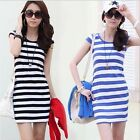 Chic Summer Women/Lady Short Sleeve Striped Bodycon Silmming Casual Dresses JJ
