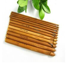12 Pcs Bamboo Crochet Hooks Needles Set Hook Case Knitting Yarn Craft US SELLER