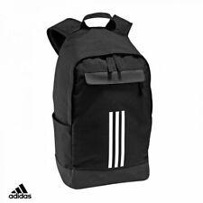 adidas Classic 3 Stripe Backpack Black Zip Multi-Pocket Bag Sports Gym Rucksack