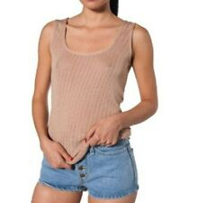 AMERICAN APPAREL Nude KNIT Patterned TANK Top RAYON Blend Large FREE SHIPPING