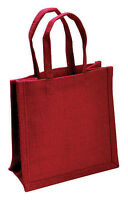 Small Red Jute Hessian Bag (22 x 19 x 12cm)