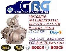 Motorino Avviamento Adattabile Fiat Ducato 2.3/2.8jtd 12v 2,3kw Bosch 0001223013