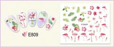 Nail Art Water Decals Transfers Stickers Summer Palm Trees Flamingo Flowers E809