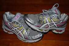 Women's Asics Gel Nimbus 13 Silver Yellow Pink Running Sneaker (7.5)