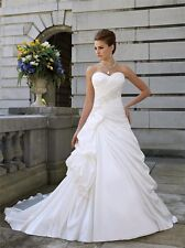 White  Satin Wedding Dress Size 08 UK Seller