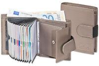Platino Kompakte Geldbörse mit vielen Kartenfächern aus feinstem Leder in Grau
