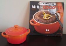 Le Creuset Mini Round Cocotte W/ Cookbook Volcanic New W/ Small Scratch
