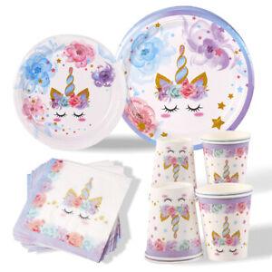 40x Unicorn Tableware Plate Set Baby Shower Kids 1st Birthday Party Decor Supply