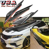 4x Carbon Fbiber Car Front Bumper Lip Splitter Fins Body Spoiler Canards Refit