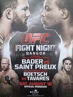UFC Bangor, ME Program. Saturday, August 16, 2014.