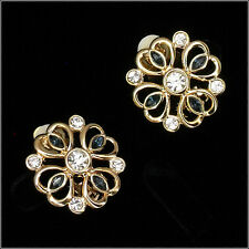 Clip-on Clip on Earrings Ear Stud Crystal Clear Classic Sapphire Jewelry 18k GP