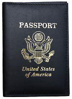 AG Wallets Handmade Black Leather US Passport Cover ID Holder Wallet Travel Case