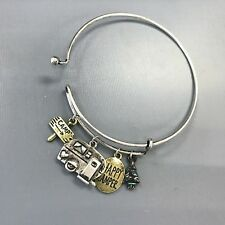 Silver Finished Multi Color Happy Camper Rv Charms Hook And Eye Bangle Bracelet