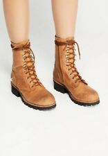 NEW Jeffrey Campbell Lucca Boots Size 7 Brown Leather Lace Up