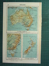 1921 MAP ~ OCEANIA ~ AUSTRALIA & TASMANIA PHYSICAL NEW ZEALAND SYDNEY MELBOURNE