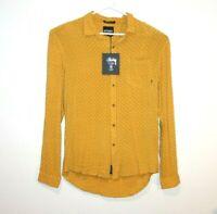 Stussy Long Sleeve Shirt Size Men's Large 'Camden Rayon L/S Mustard'