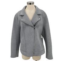 Old Navy Moto Jacket Gray Scuba Knit Full Zip Asymmetrical Coat Women's Size XXL