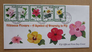 2016 FIJI FLOWERS 5 STAMPS FIRST DAY COVER FDC