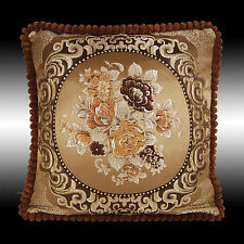 """CHOCOLATE FLOWERS TAPESTRY VELVET THROW PILLOW CASE CUSHION COVER CHAIR PAD 19"""""""