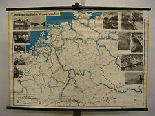 Schulwandkarte Schiff-Fahrt Kanäle Flüsse Donau Rhein Maas Elbe Main Saar 115x80