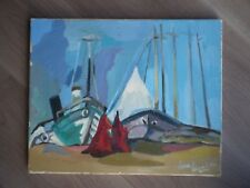 Painting Oil on Canvas Antique Dora Bianka Artist Modern Xx ° S Port Boat South