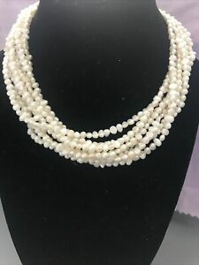 Ross-Simons 4mm Cultured Freshwater Pearl Adjustable Torsade Necklace EUC
