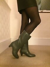BNWOT VINTAGE HIGH HEEL GREY FUR LINED WATERPROOF WELLIES BOOTS UK5 EU38-39