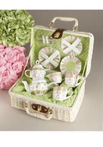 Delton Children's Porcelain Tea Set for 2 in Wicker Basket SPRINKLES 8058-4