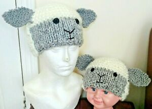 SHEEP HAT; Chunky Hand Knitted to Order; Cream/Grey; All Sizes Baby to Adult