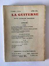LA GUITERNE N°12 AVRIL 1934 POESIE DU PLESSIS THOMAS AUGUET ARTS