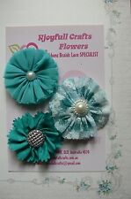 HANDMADE 3 Flower Mix TEAL BLUE Organza Lace 60 & 70mm NjoyfullCrafts